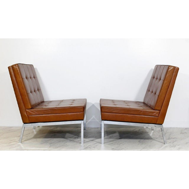 1960s Mid Century Modern Pair Vintage Knoll Chrome Leather Slipper Chairs Model #65 For Sale - Image 5 of 10