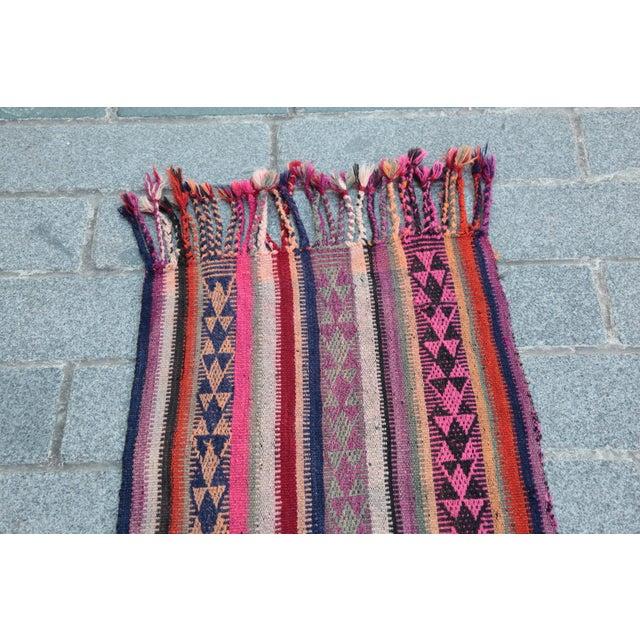 Colorful Striped Cicim Kilim -5' X 1' 5'' Kilim - Image 3 of 11