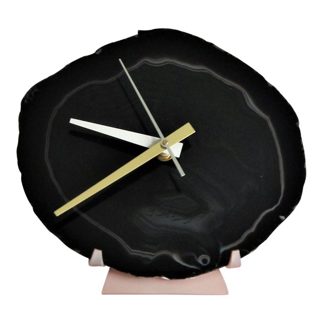 Black Agate Slice Desk Clock - Image 1 of 7