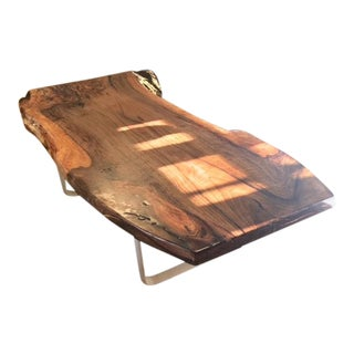 English Walnut and Industrial Base Coffee Table For Sale