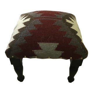 Indian Wool Kilim Footstool For Sale