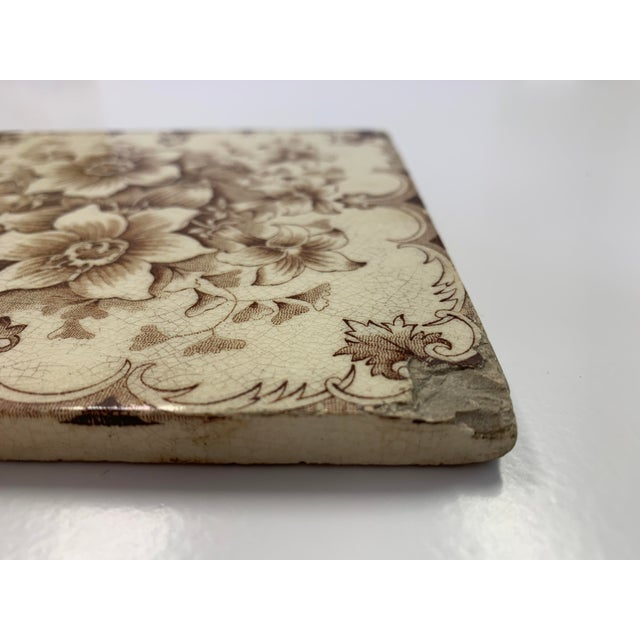 French Antique French Floral Motif Tile For Sale - Image 3 of 6