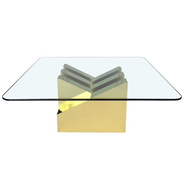 Modern Sculptural Brass Clad Coffee Table For Sale