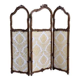 19th Century French Carved Walnut and Glass, Three-Fold Ulholstered Screen For Sale