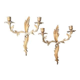 Acanthus Leaf Brass Sconces - a Pair For Sale