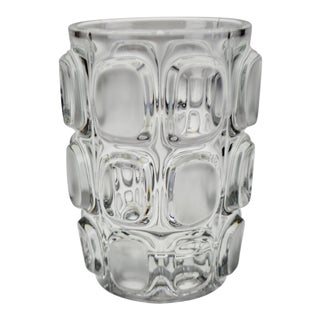 Vintage Geometric Relief Design Frosted to Clear Glass Vase For Sale