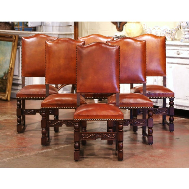 19th Century French Carved Oak and Tan Leather Dining Chairs - Set of Six For Sale - Image 13 of 13