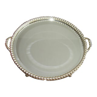 Footed Silver and Mirror Plateau With Heavy Beaded Trim For Sale