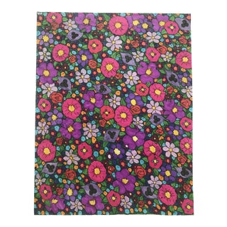 1980s Floral Wallpaper Design Painting For Sale