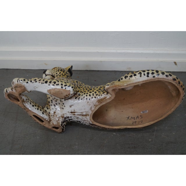Large Italian Pottery Ceramic Leopard Statue For Sale - Image 5 of 10