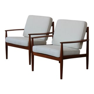 Grete Jalk Danish Modern Teak Lounge Chairs - a Pair For Sale