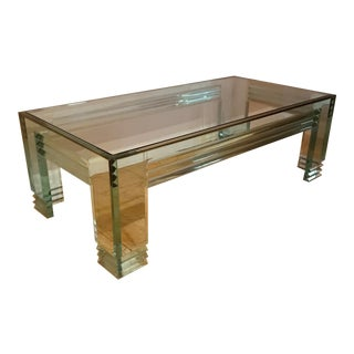 1970's Vintage, Glass and Lucite, Rectangular Coffee Table For Sale