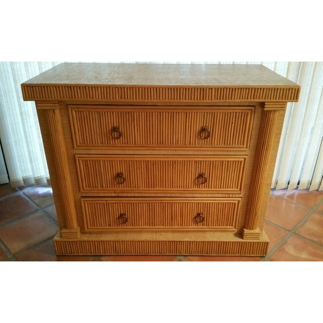 Mid-Century 70's French Empire Style Godfather Rattan Chest of Drawers For Sale In Miami - Image 6 of 7