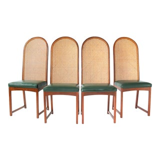 Milo Baughman Oval Back Cane Dining Chairs- Set of 4 For Sale
