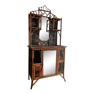 19th Century Boho Chic Bamboo Cabinet with Lacquered Panels For Sale