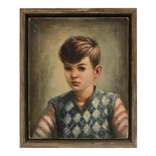 Portrait of Boy in Blue Argyle Sweater Oil Painting by Robert Rukavina For Sale