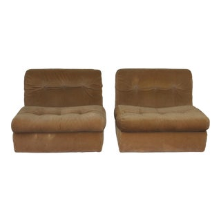 1970s Modern Mario Belini Fiber Fill Custom Matello Amani Lounge Chairs - S/3 For Sale