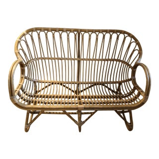 Vintage Franco Albini Style Rattan Love Seat For Sale