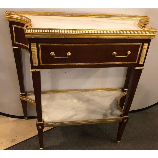 Brown Russian Neoclassical Style Console/Server or Commode With Marble Top For Sale - Image 8 of 13