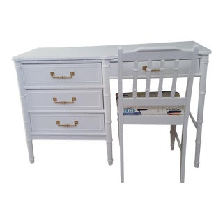 Vintage Late 20th Century Henry Link Bali Hai White Faux Bamboo Desk and Chair - 2 Piece For Sale