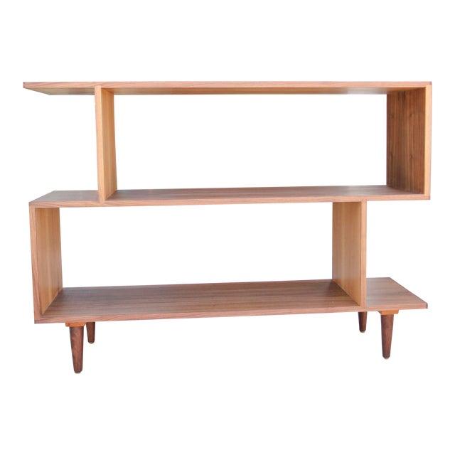 Mid-Century Modern Brown Walnut Deep Zig-Zag Bookcase For Sale