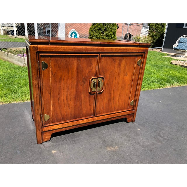 1970s Thomasville Asian Style Flip Top Bar Cabinet For Sale - Image 9 of 13
