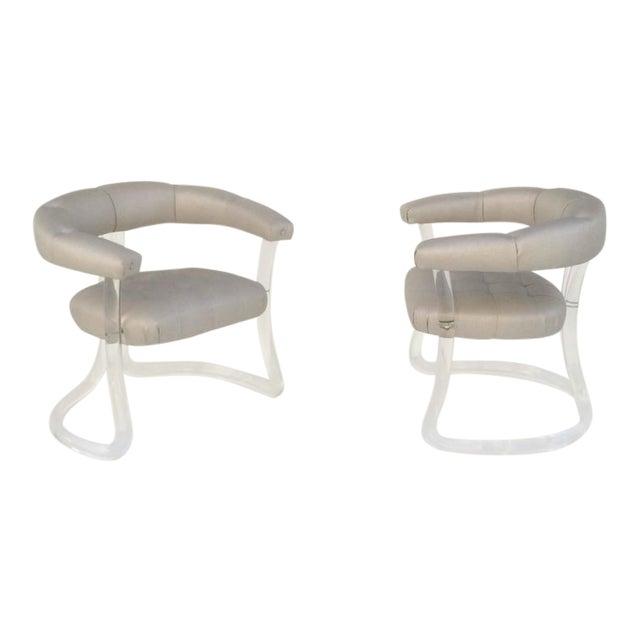 Pair Sculpted Acrylic Armchairs For Sale