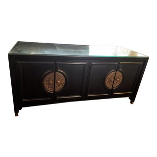 Century Furniture Black Lacquer Console Cabinet