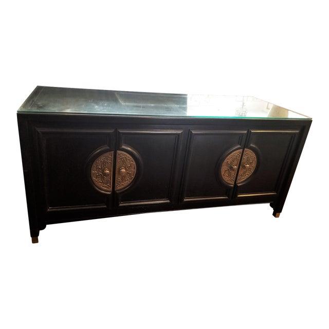 Century Furniture Black Lacquer Console Cabinet For Sale
