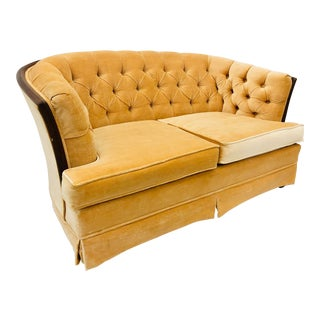 Vintage Peach Velvet Sofa by Broyhill For Sale