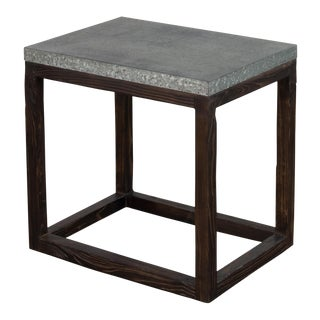 "Rectangular ""Hot Chocolate"" Elm & Zinc Lamp Table For Sale"