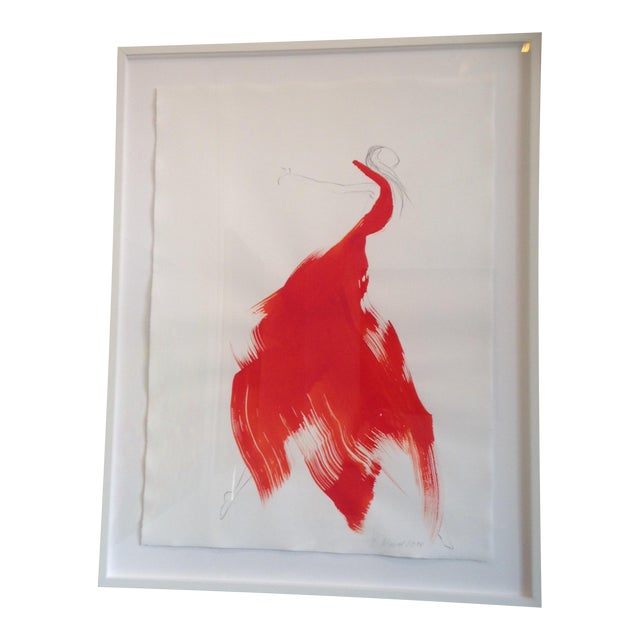 """Battina Mauel Abstract Painting """"The Red Cloth 26"""" - Image 1 of 3"""
