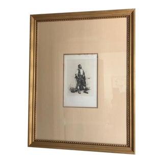 "Antique 19th Century Engraving ""A Spanish Workman"" by J. Jimney Aranda"
