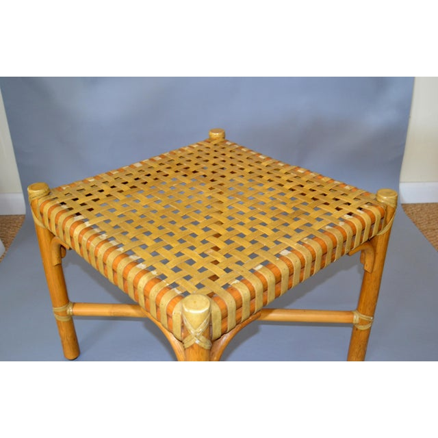 McGuire McGuire Mid-Century Modern Bamboo and Hand-Woven Leather Top Side Table / Stool For Sale - Image 4 of 13