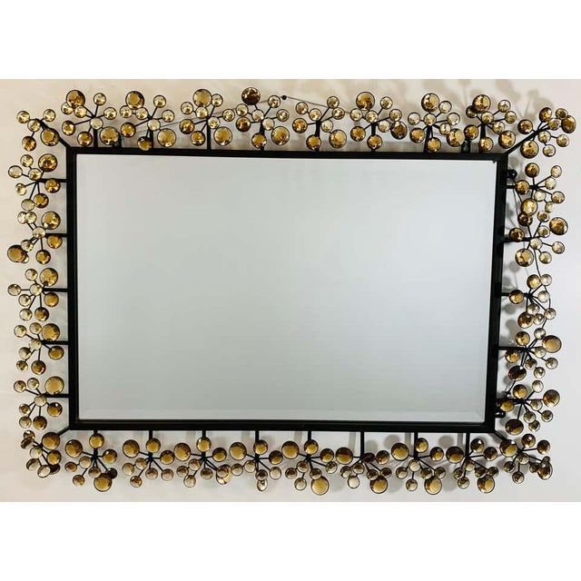 Mid-Century Modern Black and Faux Crystal Accent Beveled Wall Mirror For Sale - Image 11 of 13