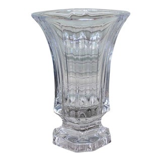 Mid-Century French Crystal Glass Vase For Sale
