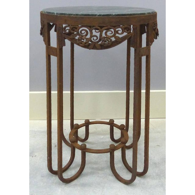 Early 20th Century French Art Deco Wrought Iron Marble Top Tables by Paul Kiss - A Pair For Sale - Image 5 of 11