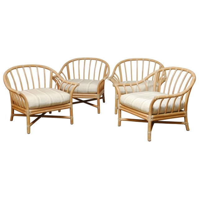 Tan Vintage McGuire Bamboo Lounge Chairs - Set of 4 For Sale - Image 8 of 8