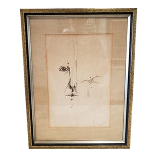 Vintage Framed and Signed Pencil Drawing For Sale