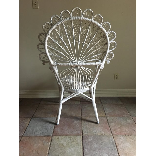 White Wicker Peacock Chair For Sale - Image 5 of 6