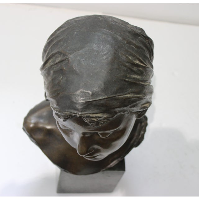 Antique Edouard Rossi of Naples.Bronze Sculpture of a Young Girl For Sale - Image 10 of 13