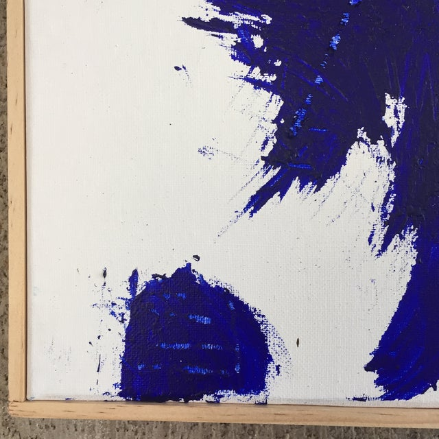 2010s Blue on White Framed Abstract Landscape Painting For Sale - Image 5 of 9