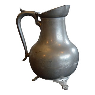 Antique French Pewter Pitcher For Sale