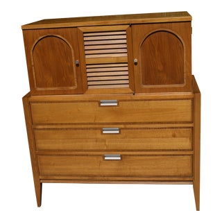 1970s Mid Century Modern Walnut Tallboy Highboy Cupboard For Sale