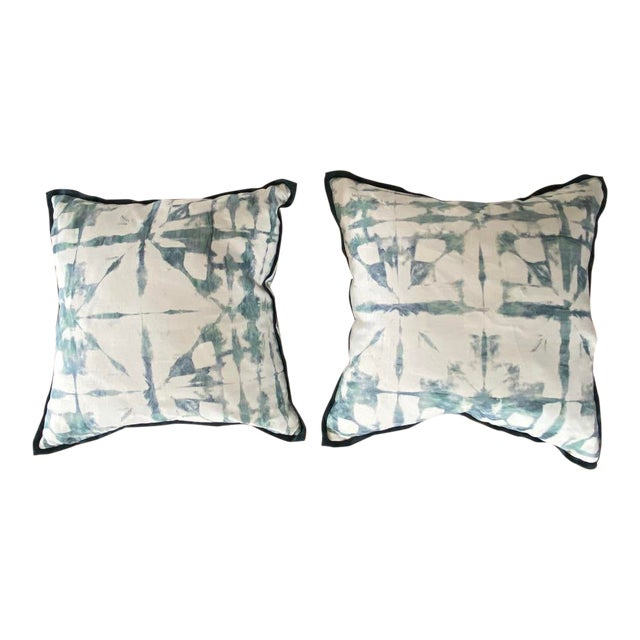 Featured in the 2020 San Francisco Decorator Showcase — Custom Aqua Watercolor Throw Pillows - Set of 2 For Sale