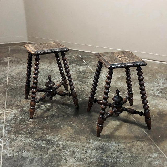 Renaissance Revival Pair 19th Century Hand Carved Spool Leg Stools For Sale - Image 3 of 12
