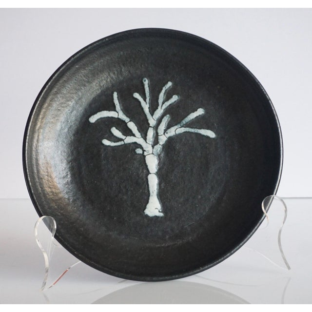 1970s Studio Pottery Black Dish With Tree Motif For Sale - Image 5 of 5