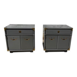 Freshly Lacquered Drexel Accolade Campaign Nightstands a Pair For Sale