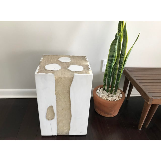 Mid-Century Modern Modern Mieke by Made Goods White Teak Wood and Crystal Resin Side Table Stool For Sale - Image 3 of 12