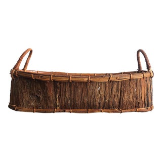 Vintage Rustic Tree Bark Basket For Sale